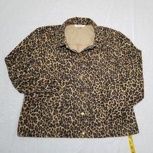 JM Collection Animal Print Jacket Size 16 Cotton